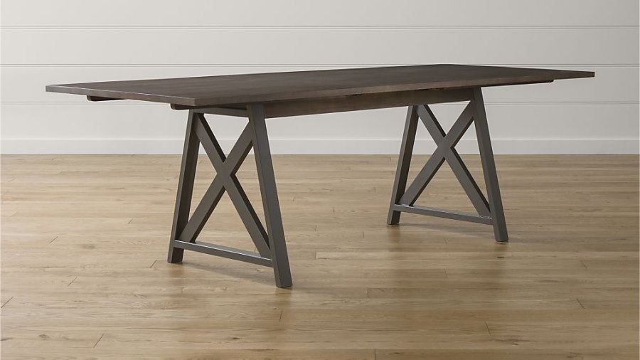 view in gallery wood and steel trestle table from crate barrel retro metal kitchen - Metal Kitchen Table