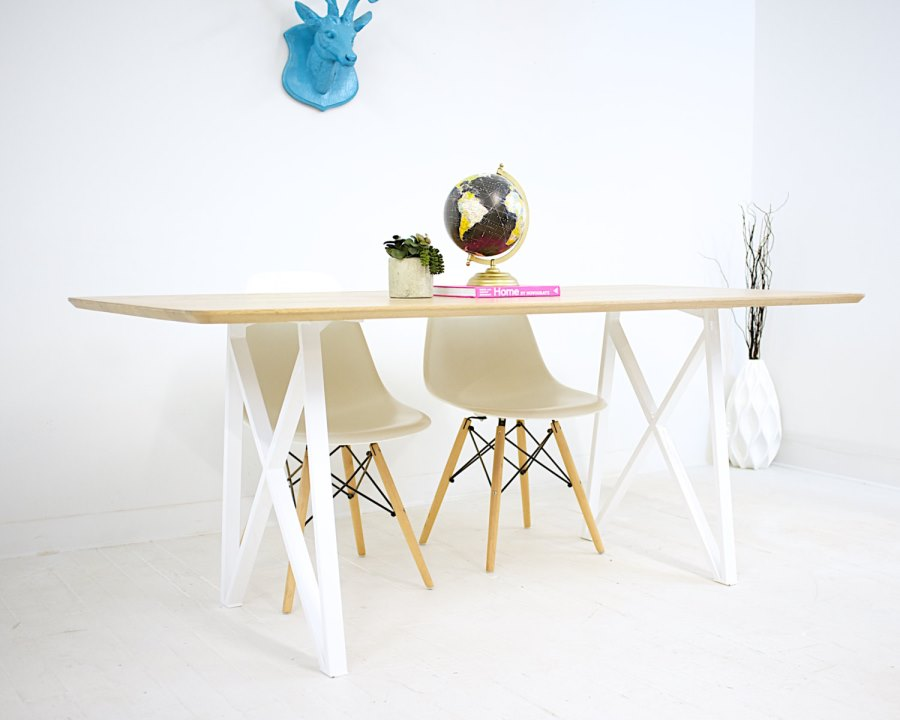 Wood and steel trestle table from Modern Cre8ve
