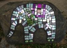 Animal mosaic on upcycled CD