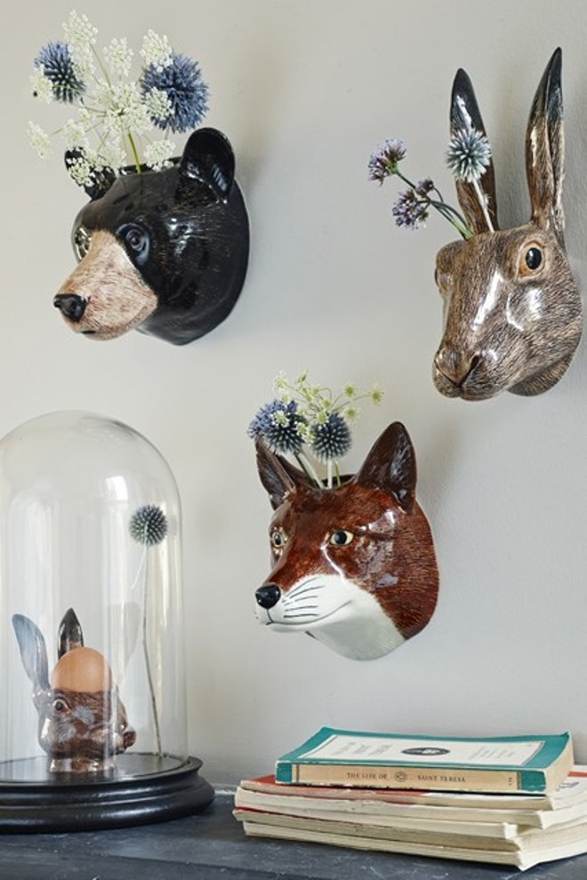 Animal Head Wall Decor Nursery : Whimsical planters inspired by exotic wildlife