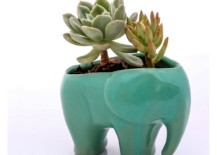 Ceramic elephant planter in mint green