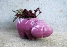 Funky hippo planter in pink