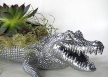 Silver crocodile planter