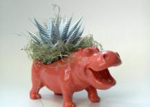 Salmon pink hippopotamus planter