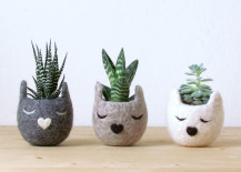 Felt kitty planter in various colors
