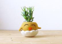 Felt chicken in egg planter