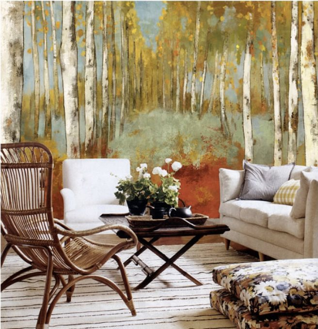 15 impressive wall mural ideas that bring the outdoors in for Autumn forest wallpaper mural
