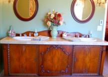 Ravishing antique sideboard upcycled into a bathroom vanity
