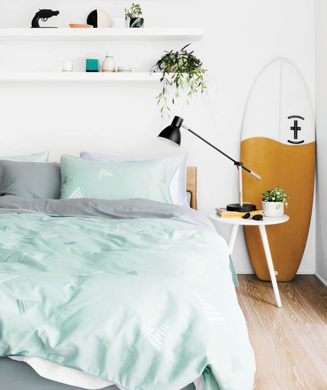 bedroom surfboard stood up 8
