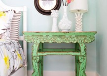 Vintage bedside table with lovely accessories