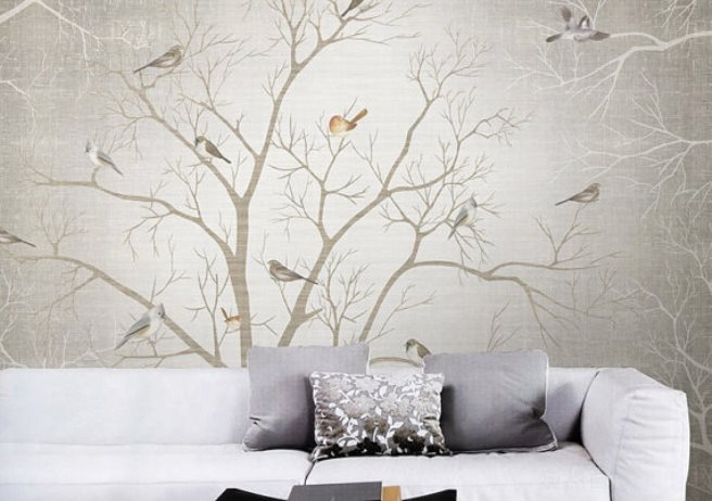 15 impressive wall mural ideas that bring the outdoors in for Bird mural wallpaper