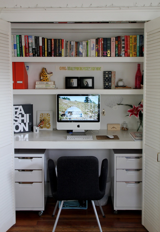 Desk Built Into Closet 15 closets turned into space-saving office nooks