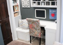 Closet office space with built-in reading nook