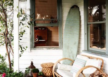 dech surfboard stood up 5 217x155 16 Beachy Surfboard Decorating Ideas