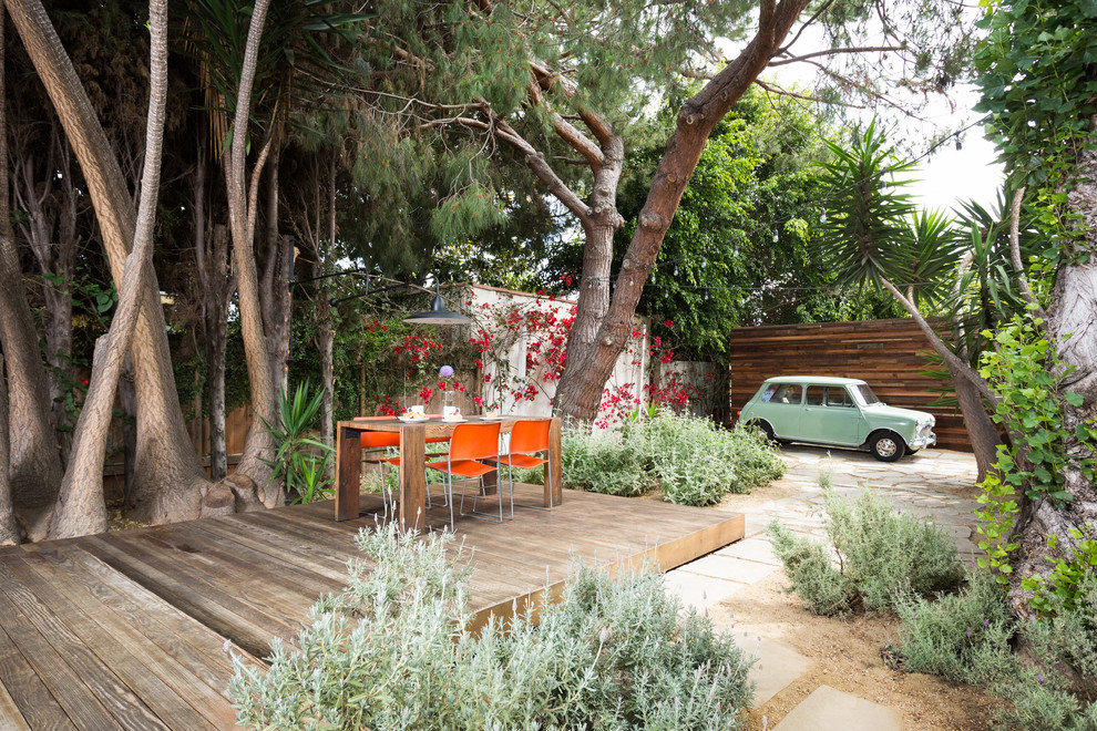 A floating deck among drought-resistant plantings