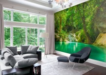 Mural brings the charm of a green forest indoors