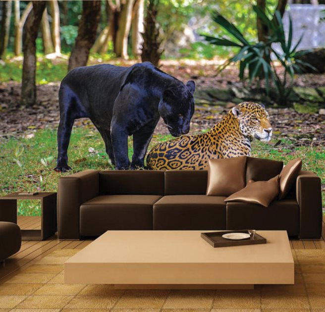 View In Gallery Jungle Cats Mural Wallpaper 10 Wildlife Themed Jaguar Wall  ... Part 41
