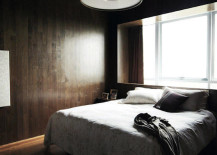 Stylish bedroom with a dark ambiance