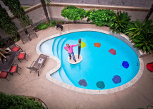 Unique pool in a painter's palette shape