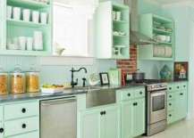 pale green beadboard kitchen1 217x155 15 Beadboard Backsplash Ideas for the Kitchen, Bathroom, and More