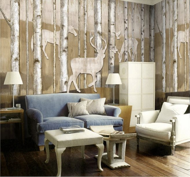 15 impressive wall mural ideas that bring the outdoors in for Deer wall mural