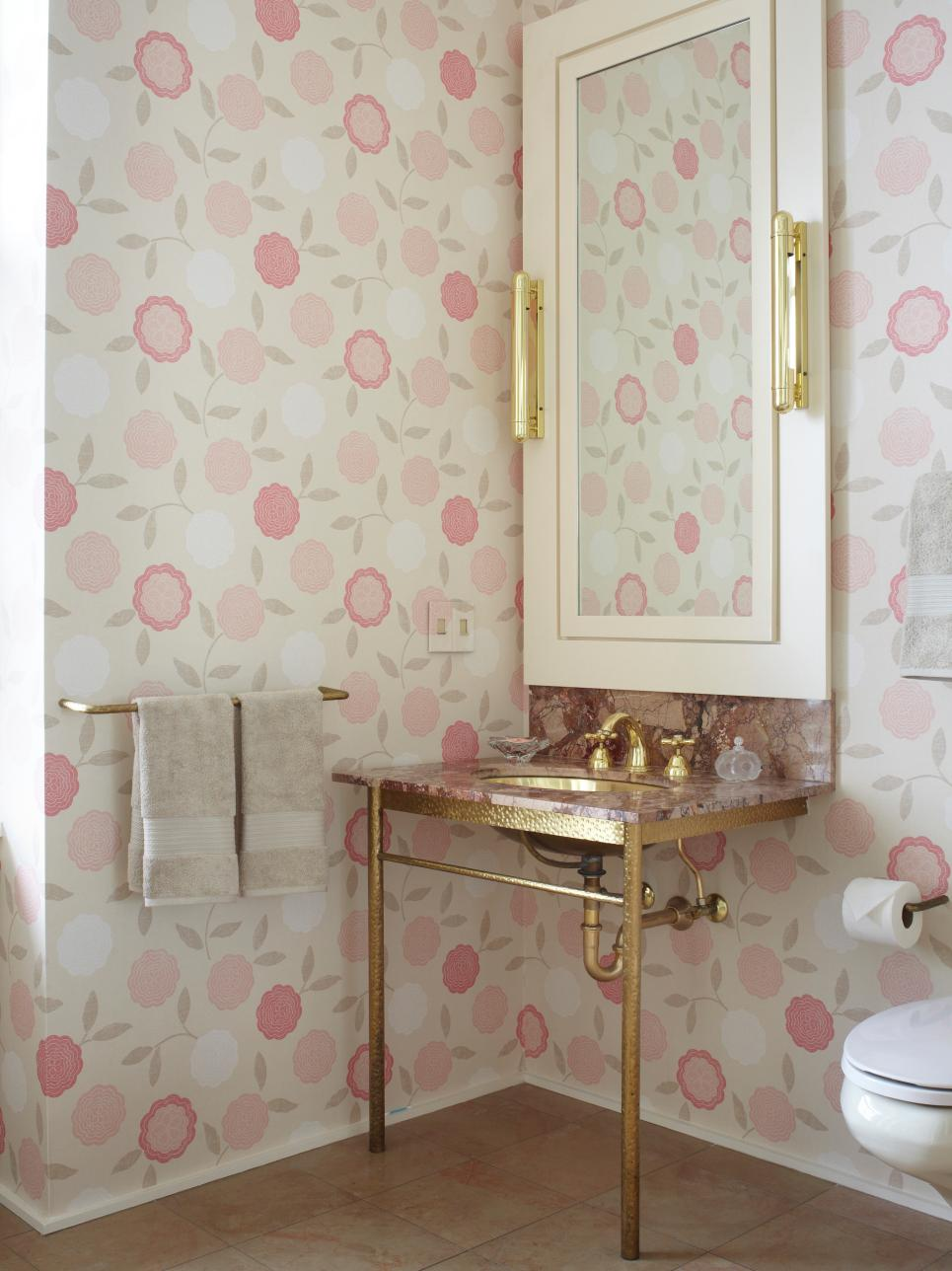 18 bathrooms for shabby chic design inspiration for Bathroom wallpaper designs