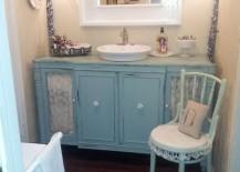 Blue vanity for the shabby chic bathroom