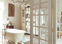 French doors bring class and beauty to the relaxing bathroom