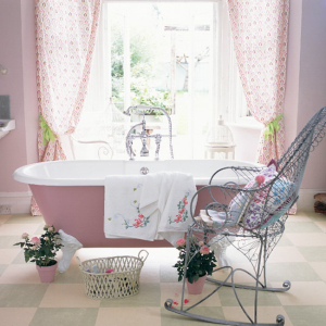 A touch of pink for the bathroom with standalone bathtub