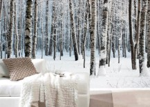 snow forest mural wappaper 12 217x155 15 Impressive Wall Mural Ideas That Bring the Outdoors In