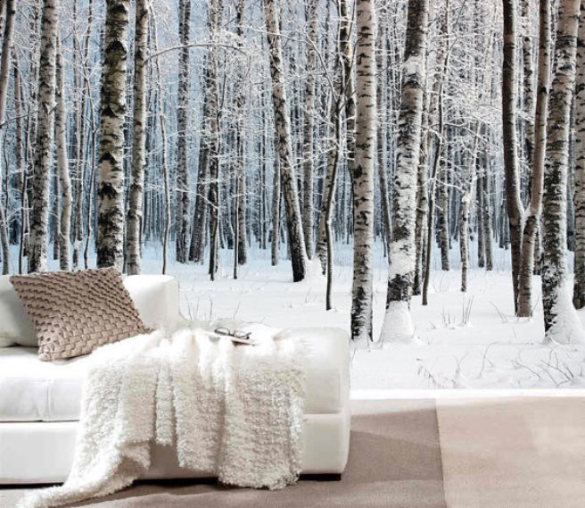 15 impressive wall mural ideas that bring the outdoors in for Winter wall murals