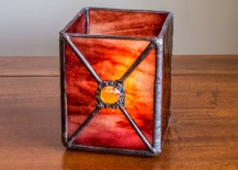 Dazzling candler holder made from stained glass