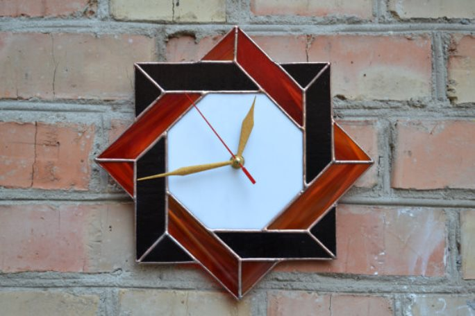 stained glass clock 8