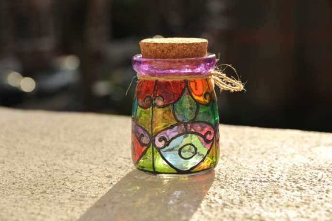 stained glass jar 14