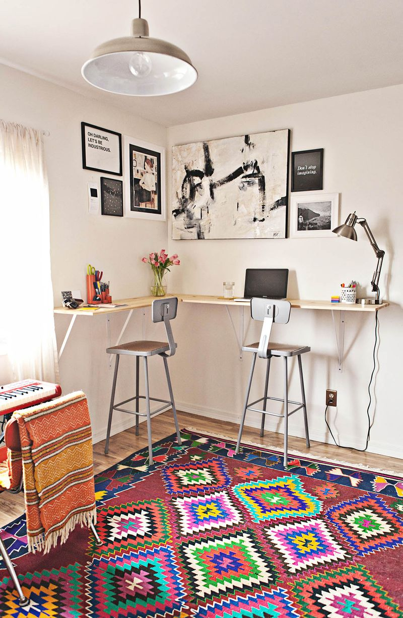 Wrap Around Standing Desk With Bar Stools