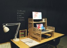Regular desk turned into a standing desk with creativity