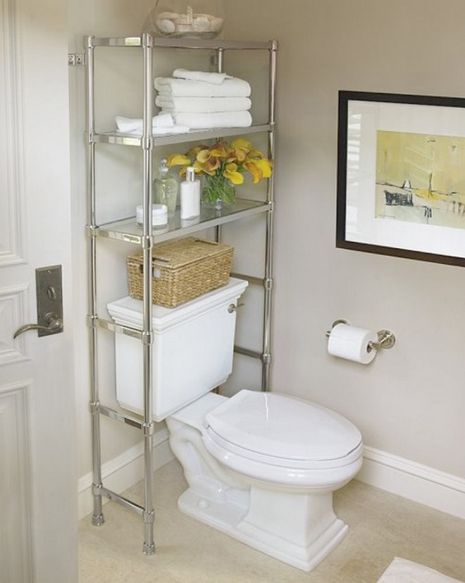 Over the toilet shelving units help maximize unused space for Bathroom over the toilet shelf