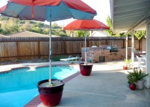 Umbrellas are a popular choice next to the pool