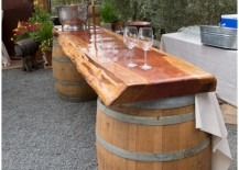 Wine barrels used to shape outdoor dining