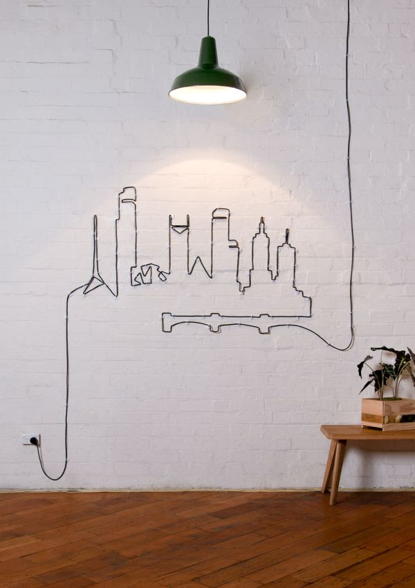 Turn your unsightly wire cables and cords into wall art for How to hide electrical cords on wall