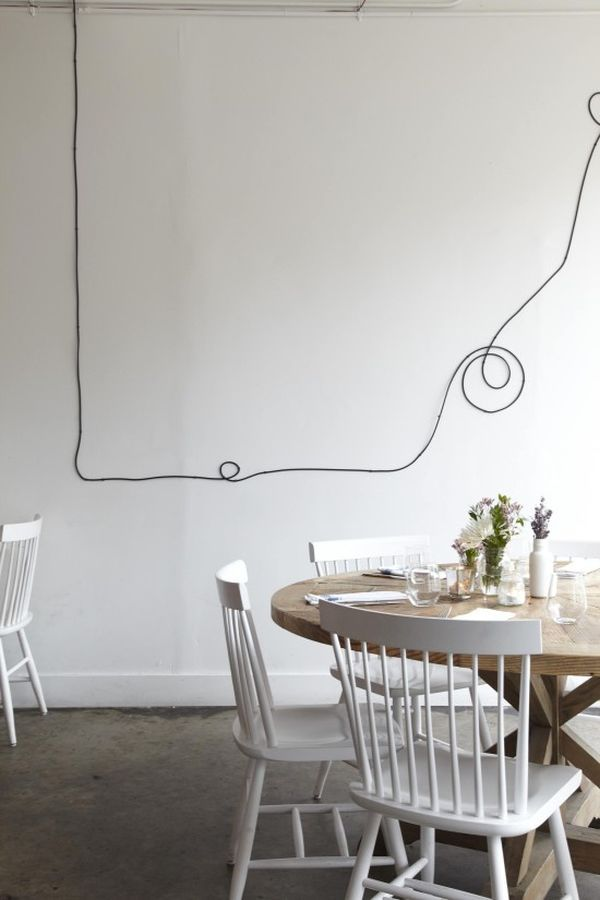 Cables or cords displayed on the wall in abstract design View in gallery wire art 13 & Turn Your Unsightly Wire Cables and Cords into Wall Art