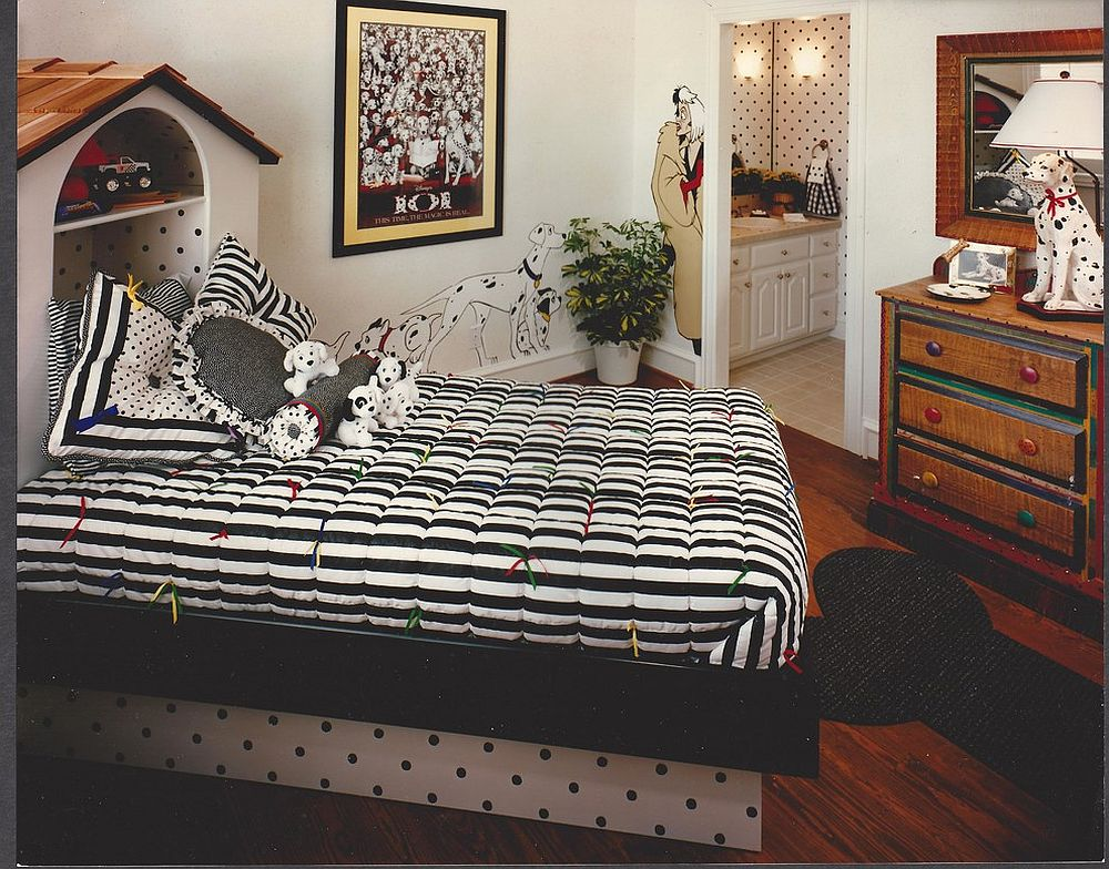 101 Dalmatians themed bedroom in black and white [Design: M K Star Designs]