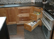 A more traditional approach to corner cabinetry in the kitchen