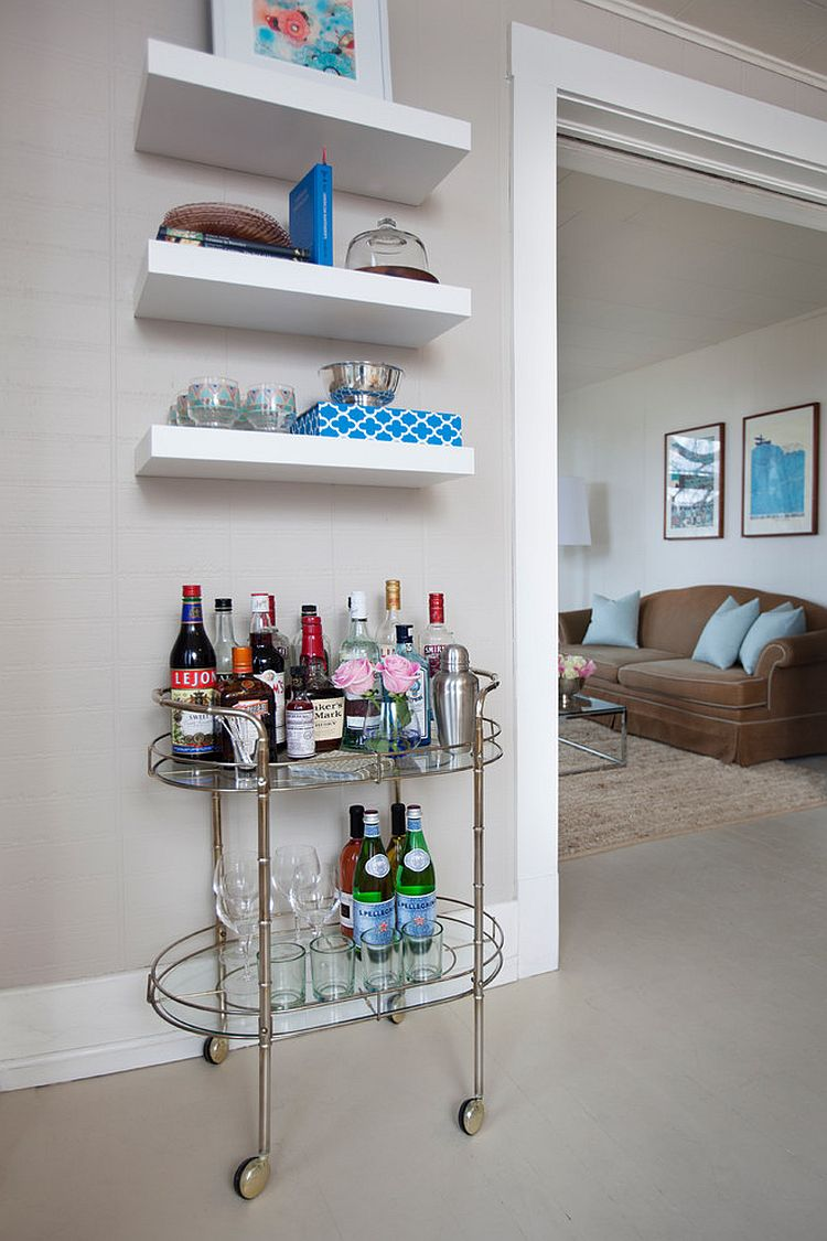 ... A Vintage Bar Cart And A Few Floating Shelves Is All You Need For A Tiny