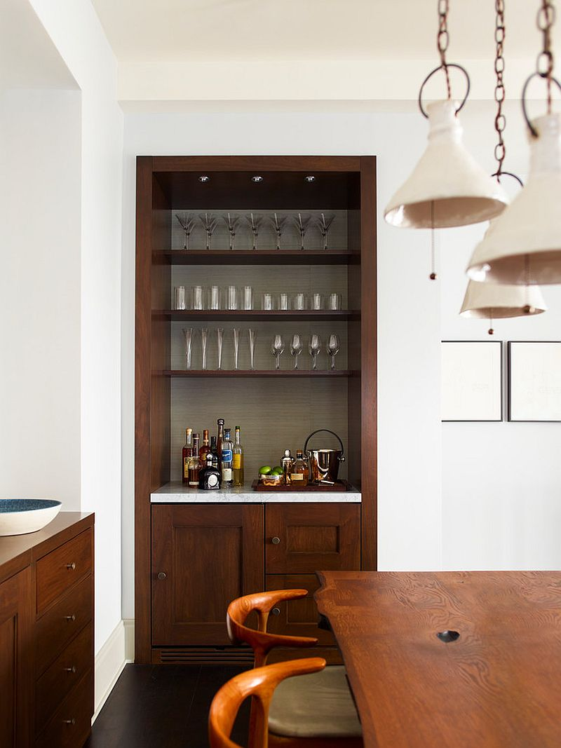 Add a small bar setting to the formal dining room corner [Design: Damon Liss Design]