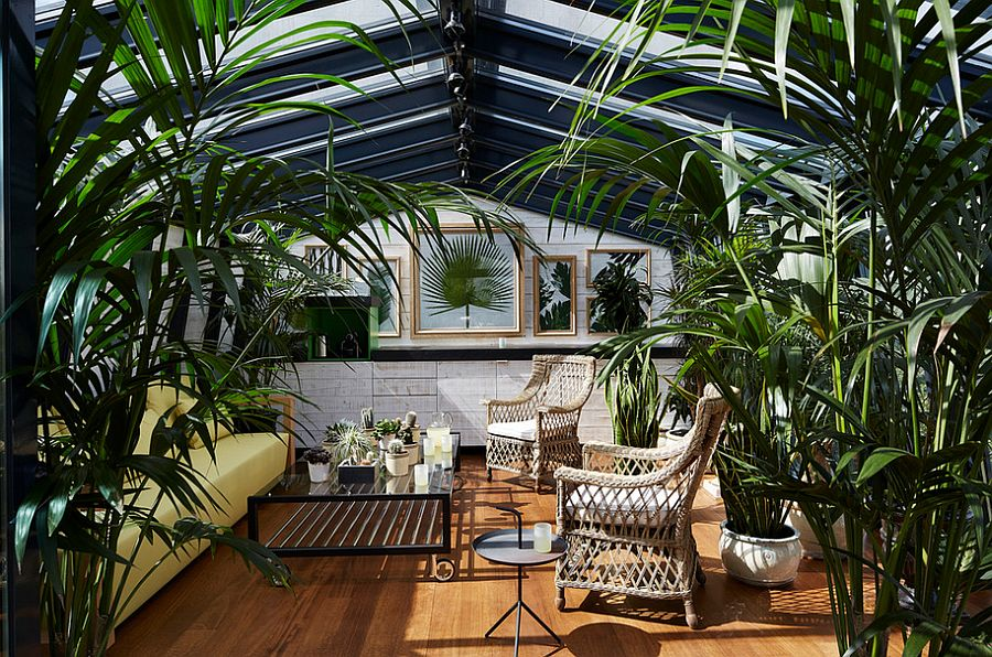 Add greenery to visually enrich that sunroom and create some shade [Design: CKA PARIS]  50 Bright and Beautiful Contemporary Sunrooms Add greenery to vsually enrich that sunroom and create some shade
