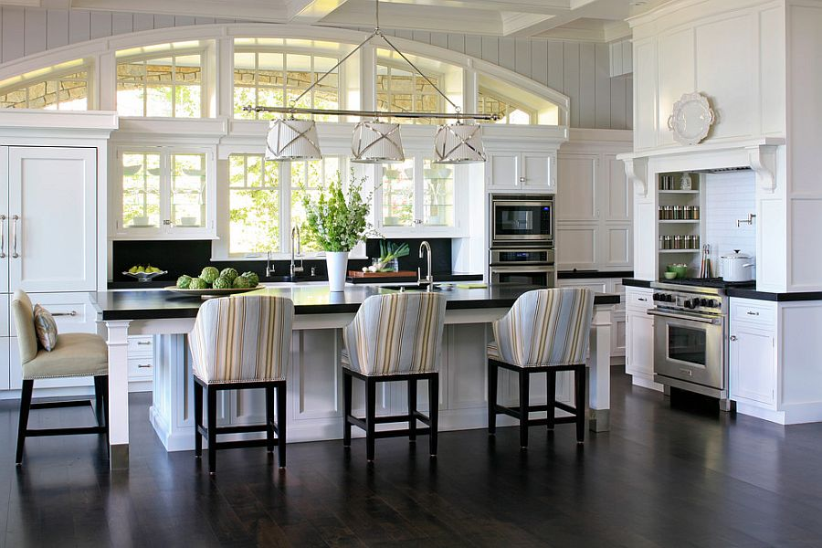 Add those stripes to the kitchen with smashing bar chairs [From: James Yochum Photography]