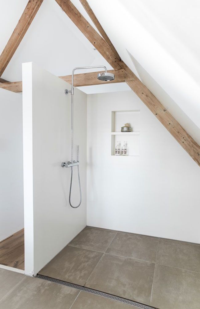 Amazing shower built around wood beams