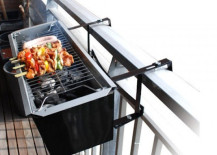 Amazing small grill to hang from your balcony 217x155 Creative Outdoor Accessories to Hang from Your Balcony Railing