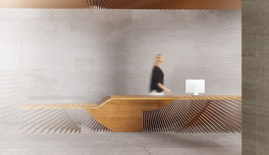 Ampersand reception is made of wood & brass fins